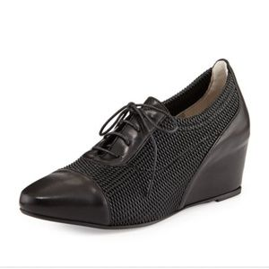 Aquatalia by Marvin k black oxford woven wedges